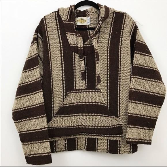 Brown tan men's striped poncho hoodie jacket